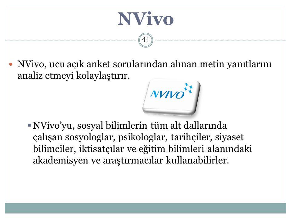 NVivo 44. NVivo, ucu açık anket sorularından alınan metin yanıtlarını analiz etmeyi kolaylaştırır.