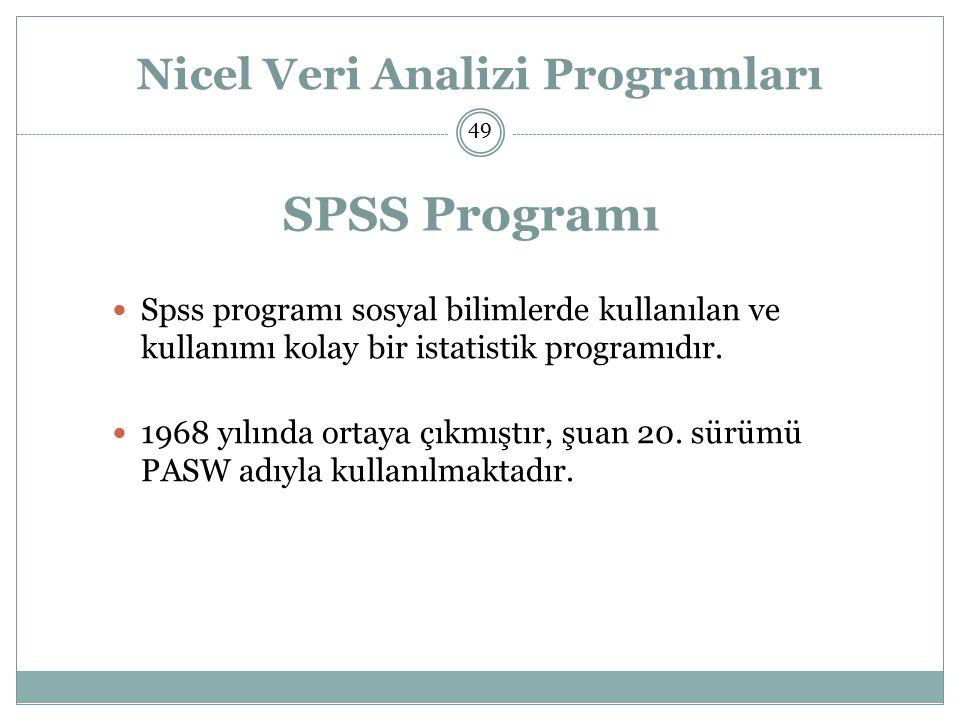 Nicel Veri Analizi Programları