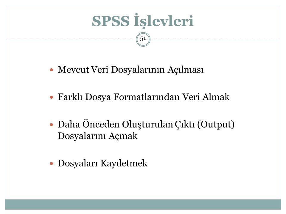 SPSS İşlevleri Mevcut Veri Dosyalarının Açılması
