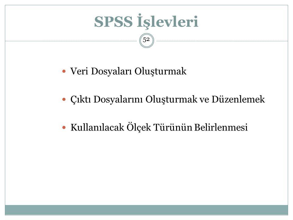 SPSS İşlevleri Veri Dosyaları Oluşturmak