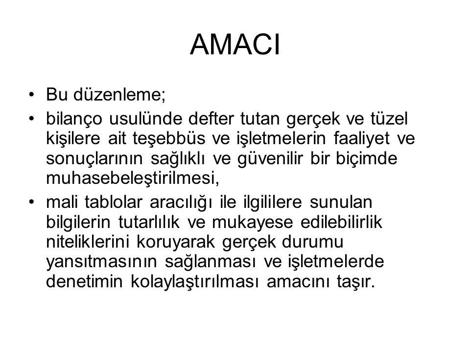 AMACI Bu düzenleme;