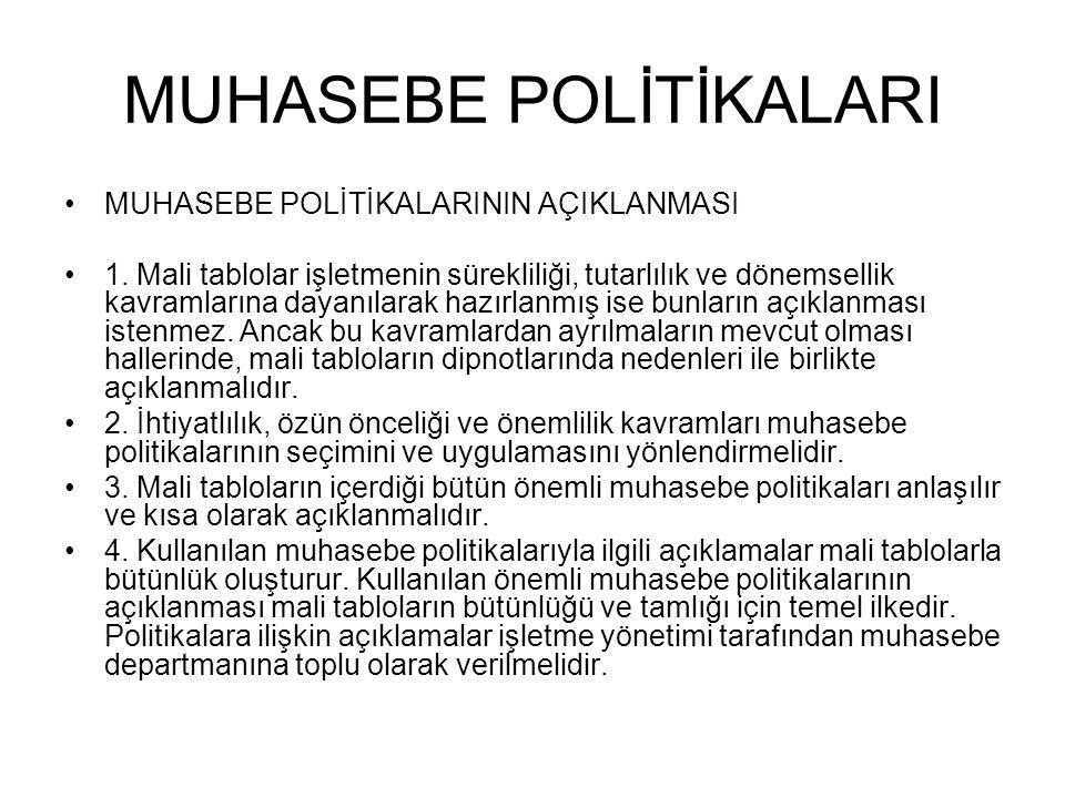 MUHASEBE POLİTİKALARI