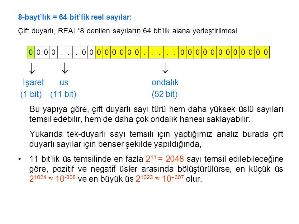 İşaret üs ondalık (1 bit) (11 bit) (52 bit)