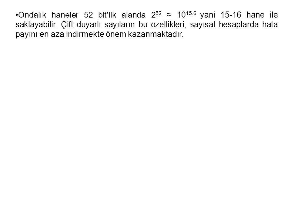 Ondalık haneler 52 bit'lik alanda 252 ≈ 1015