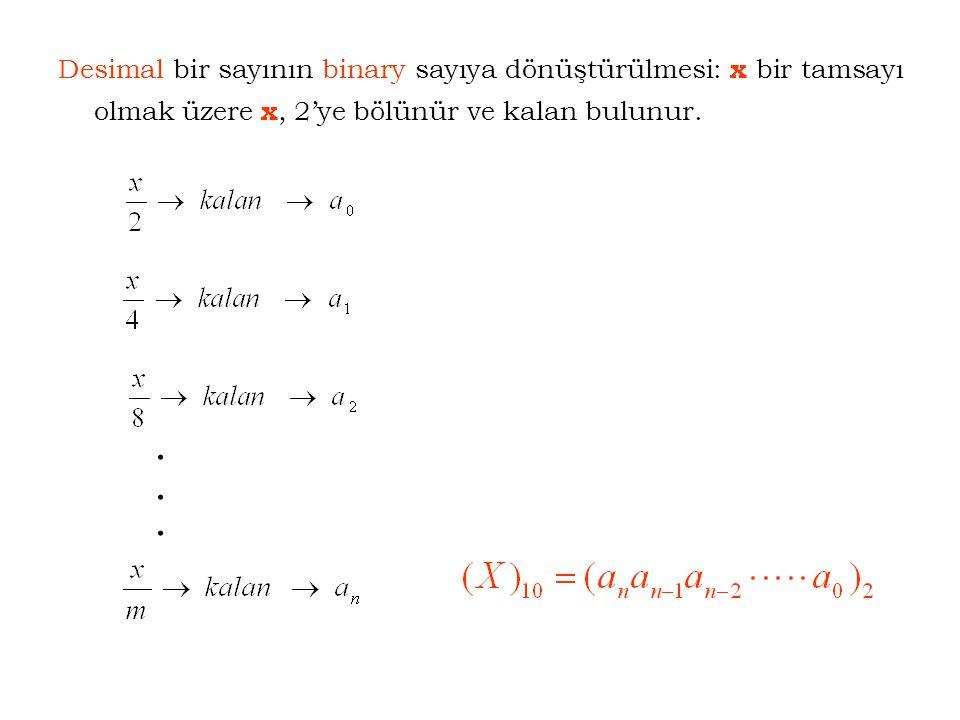 Desimal bir sayının binary sayıya dönüştürülmesi: x bir tamsayı olmak üzere x, 2'ye bölünür ve kalan bulunur.