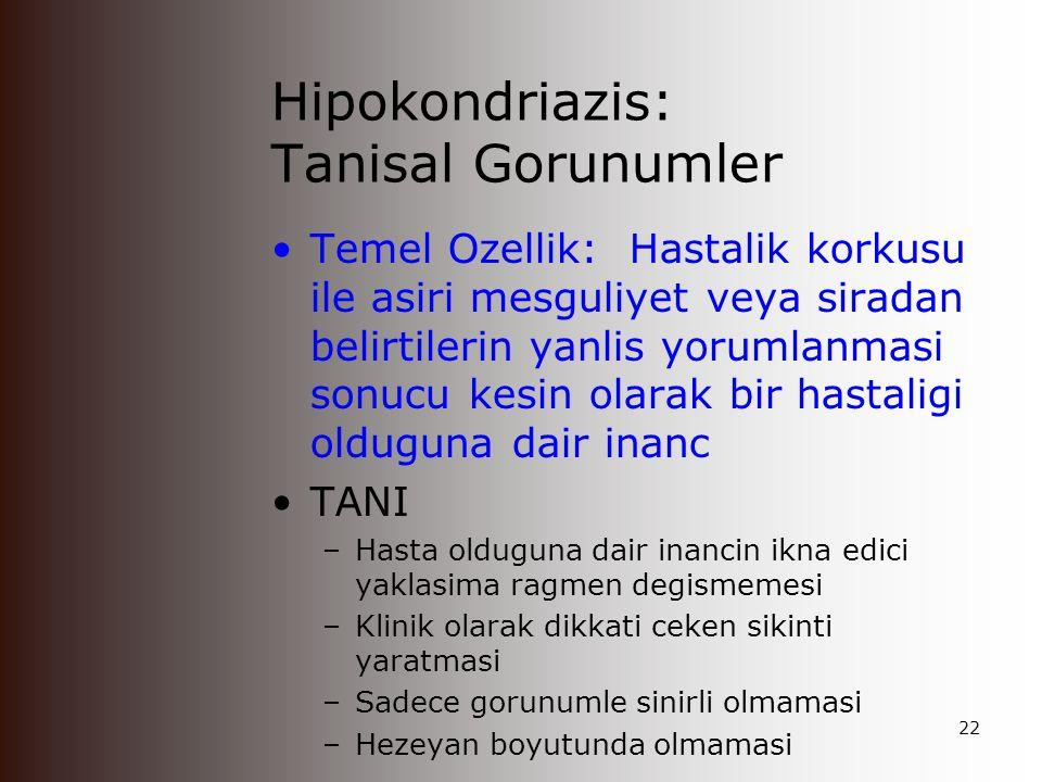 Hipokondriazis: Tanisal Gorunumler