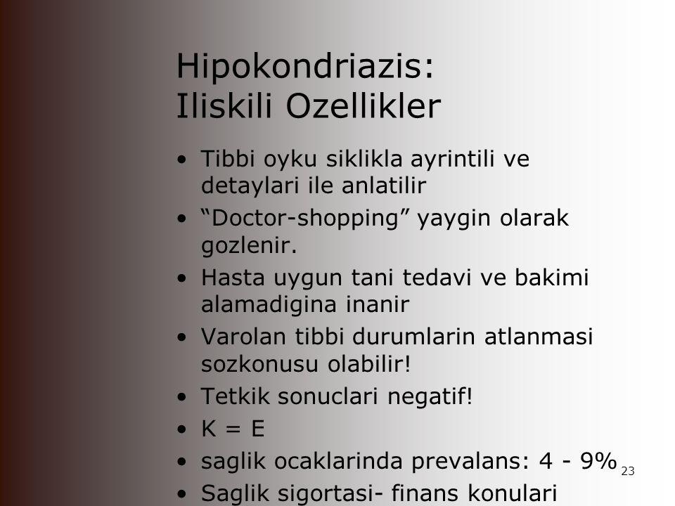 Hipokondriazis: Iliskili Ozellikler