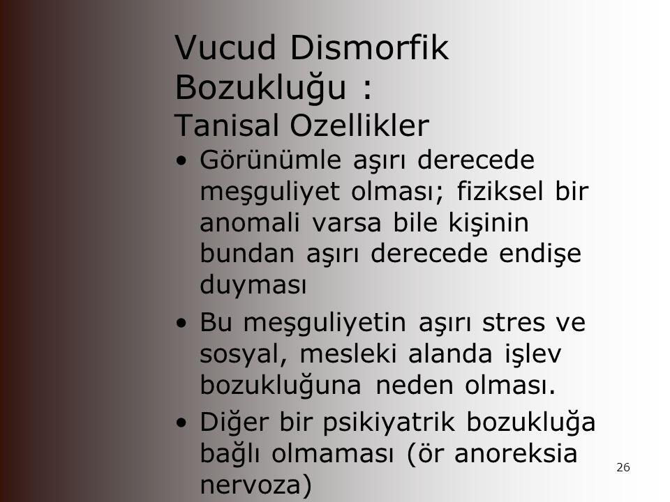 Vucud Dismorfik Bozukluğu : Tanisal Ozellikler