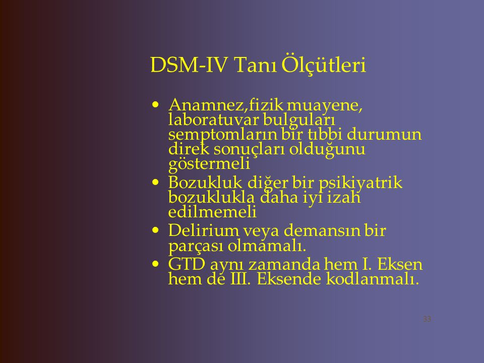 DSM-IV Tanı Ölçütleri Anamnez,fizik muayene, laboratuvar bulguları semptomların bir tıbbi durumun direk sonuçları olduğunu göstermeli.