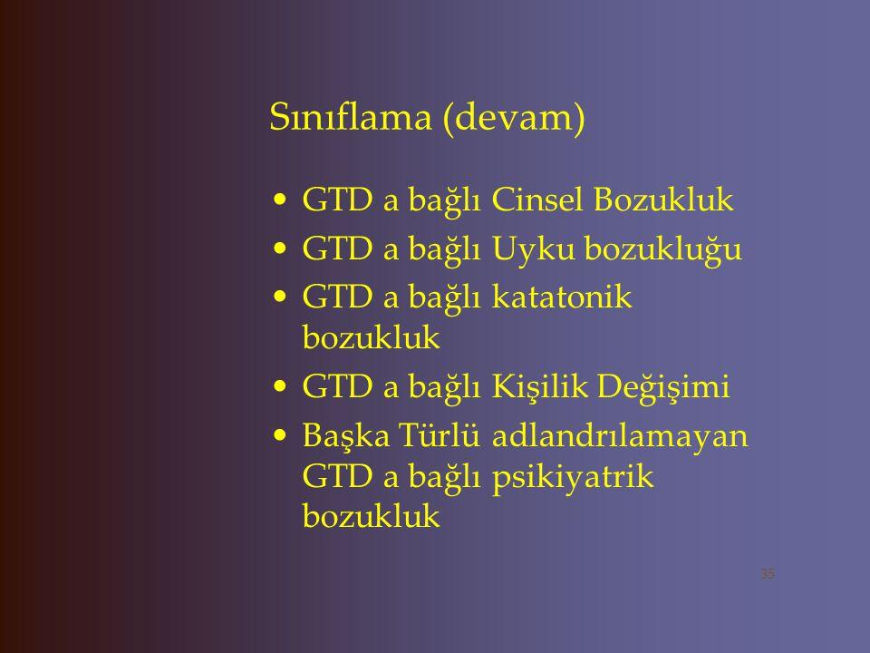 Sınıflama (devam) GTD a bağlı Cinsel Bozukluk