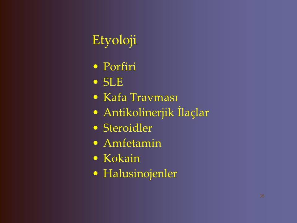 Etyoloji Porfiri SLE Kafa Travması Antikolinerjik İlaçlar Steroidler