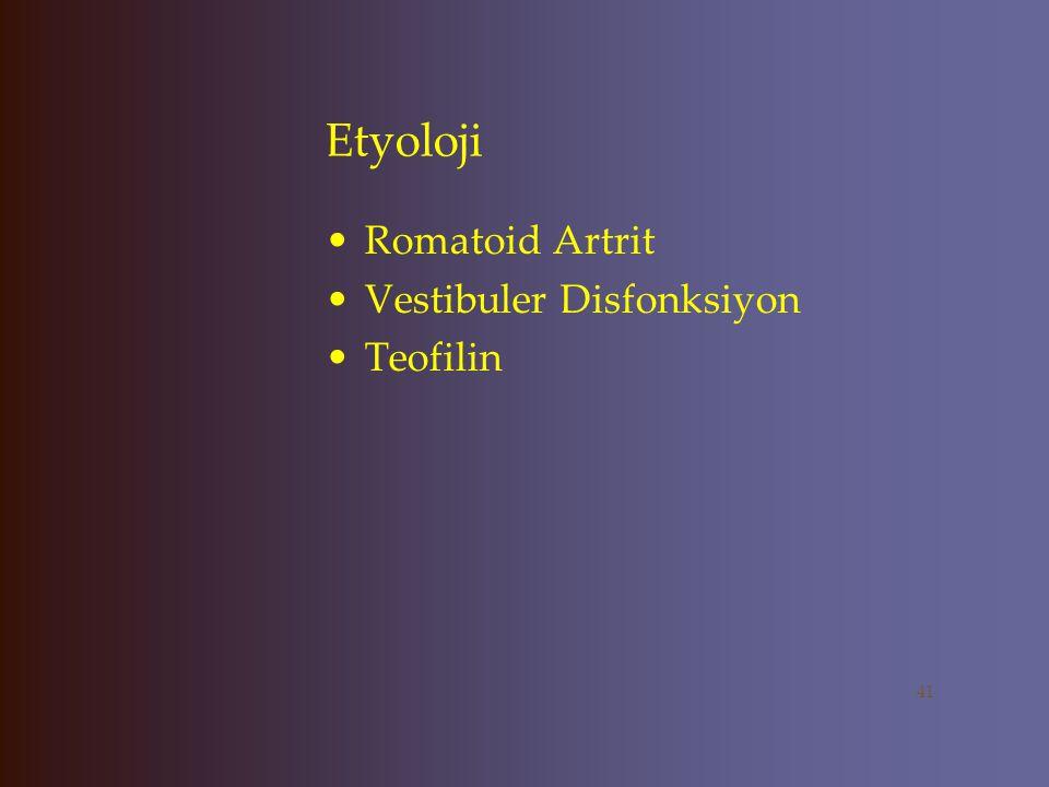 Etyoloji Romatoid Artrit Vestibuler Disfonksiyon Teofilin