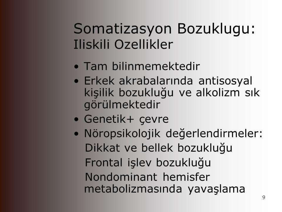 Somatizasyon Bozuklugu: Iliskili Ozellikler
