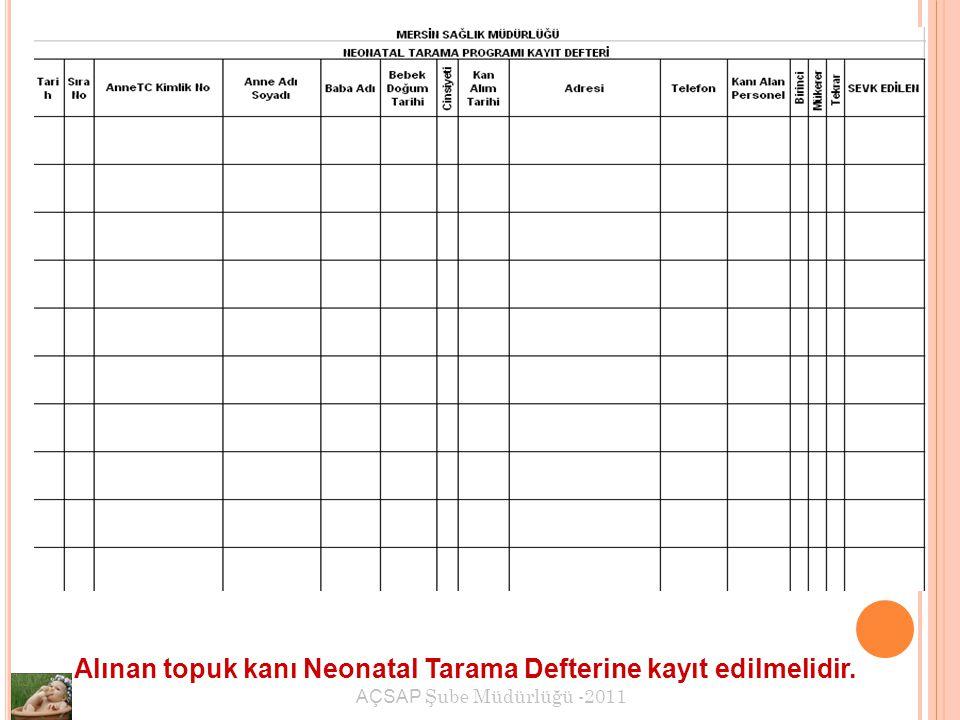 Alınan topuk kanı Neonatal Tarama Defterine kayıt edilmelidir.