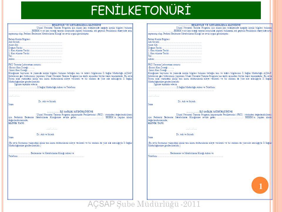 FENİLKETONÜRİ 1 AÇSAP Şube Müdürlüğü -2011