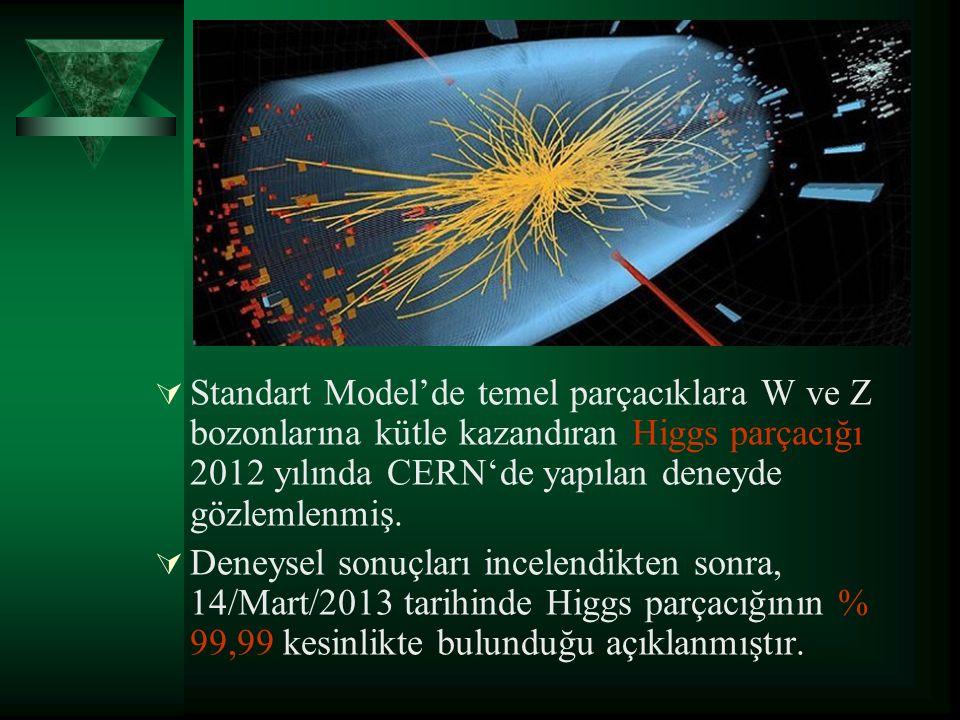 Standart Model'de temel parçacıklara W ve Z bozonlarına kütle kazandıran Higgs parçacığı 2012 yılında CERN'de yapılan deneyde gözlemlenmiş.