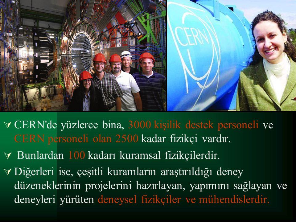 CERN de yüzlerce bina, 3000 kişilik destek personeli ve CERN personeli olan 2500 kadar fizikçi vardır.