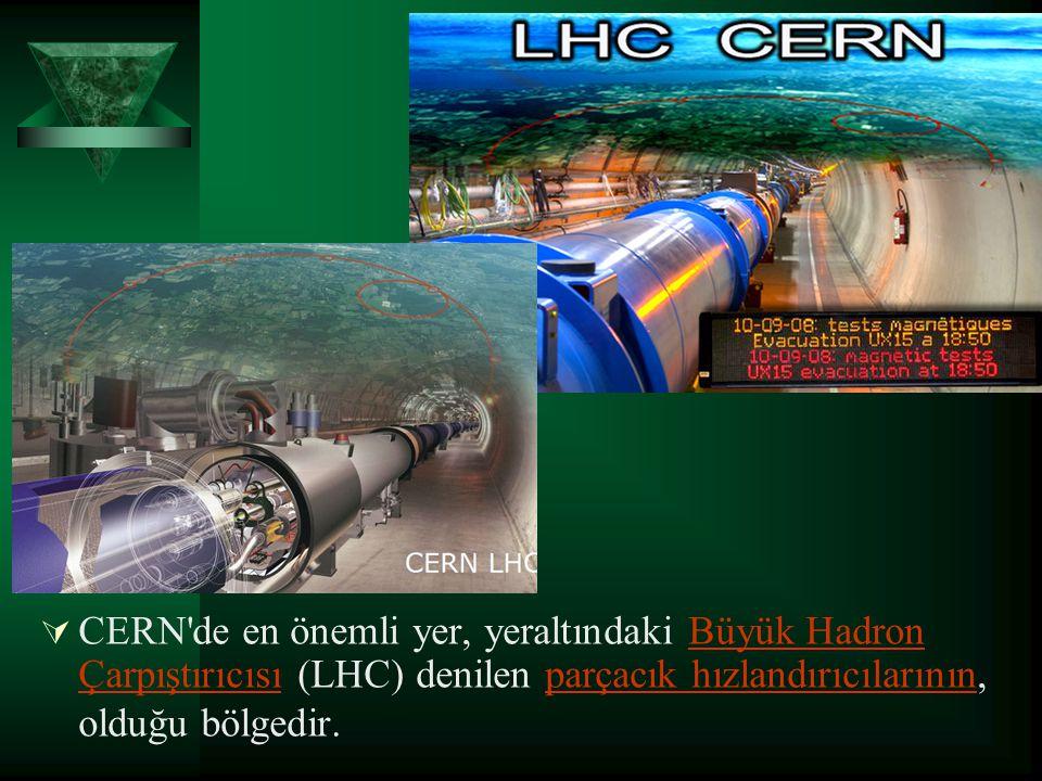CERN de en önemli yer, yeraltındaki Büyük Hadron Çarpıştırıcısı (LHC) denilen parçacık hızlandırıcılarının, olduğu bölgedir.