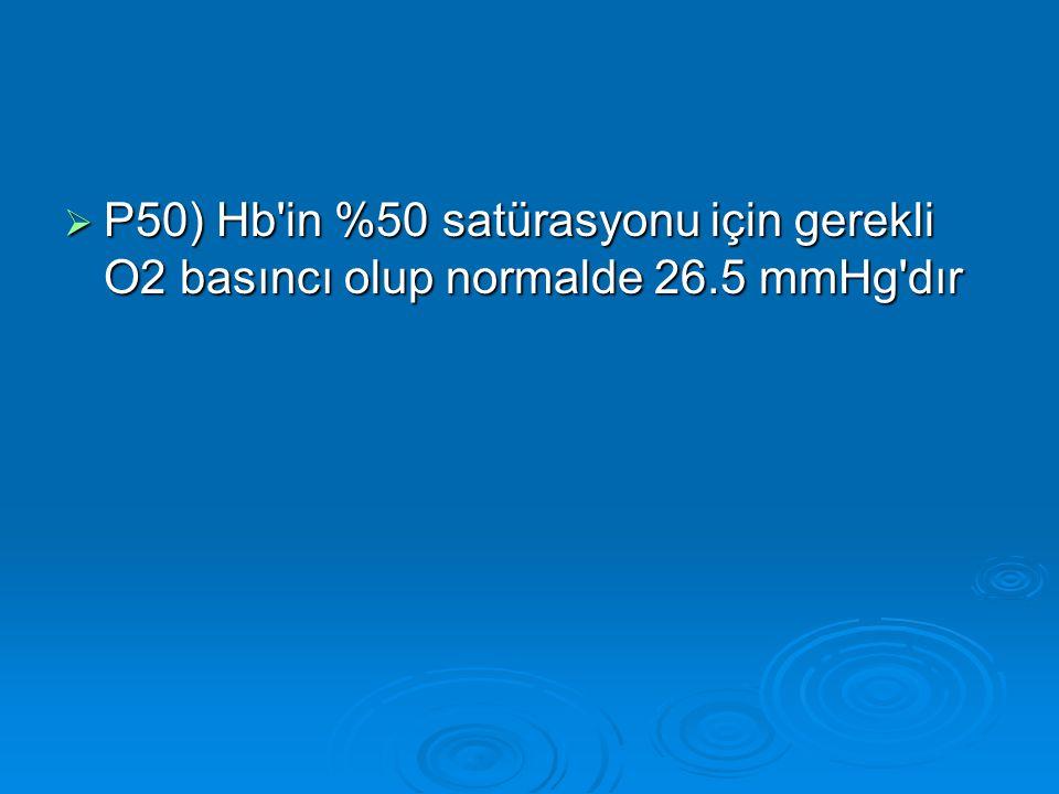 P50) Hb in %50 satürasyonu için gerekli O2 basıncı olup normalde 26