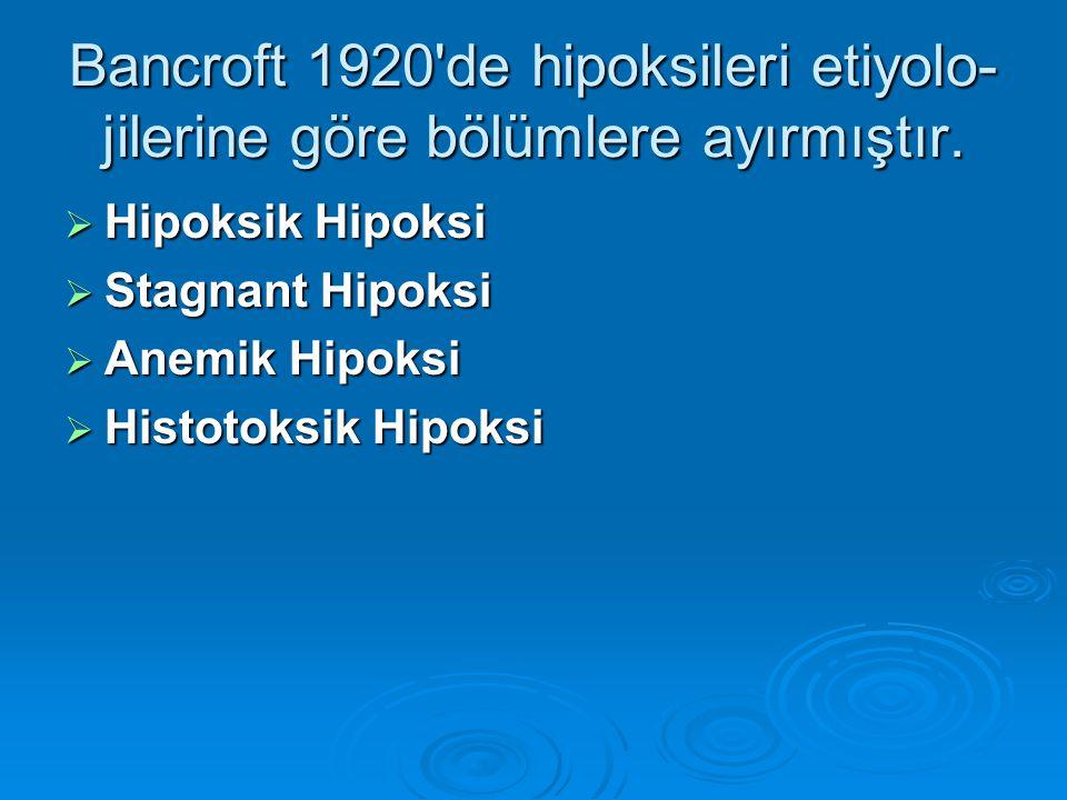Bancroft 1920 de hipoksileri etiyolo-jilerine göre bölümlere ayırmıştır.