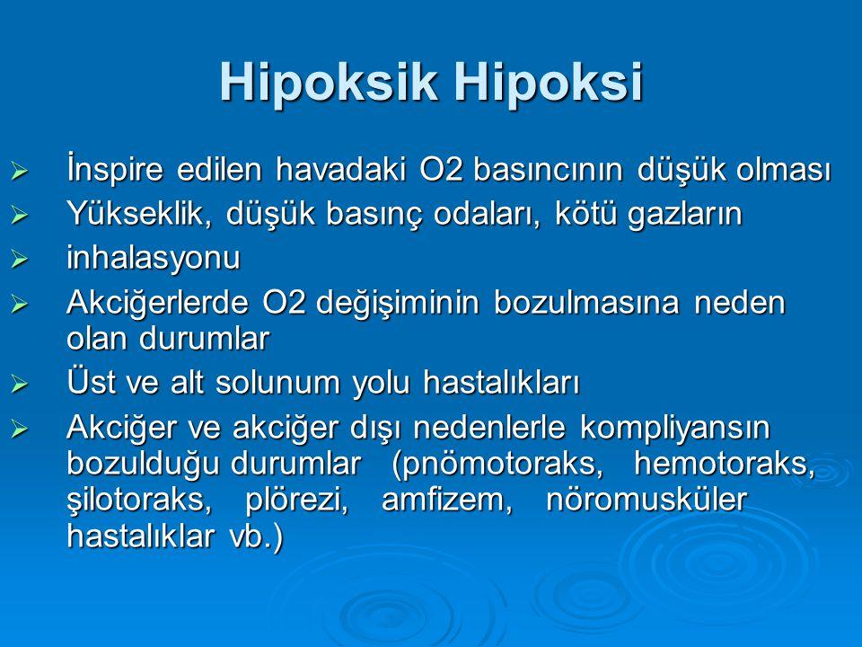 Hipoksik Hipoksi İnspire edilen havadaki O2 basıncının düşük olması