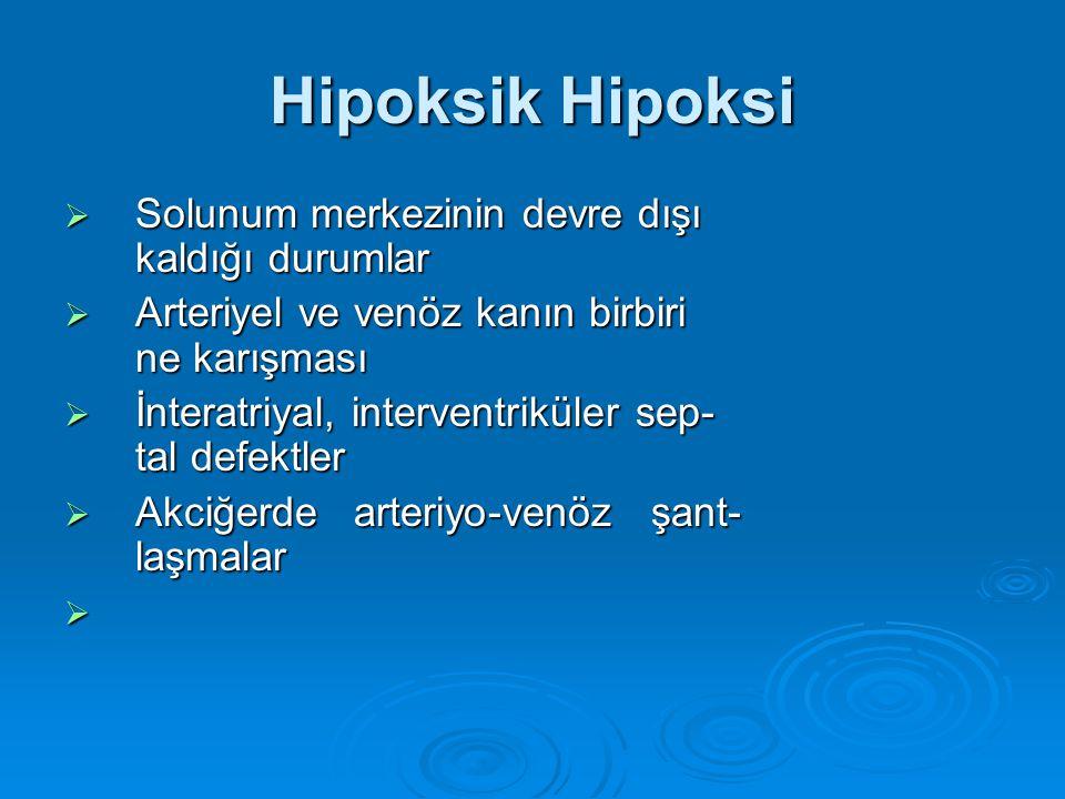 Hipoksik Hipoksi Solunum merkezinin devre dışı kaldığı durumlar