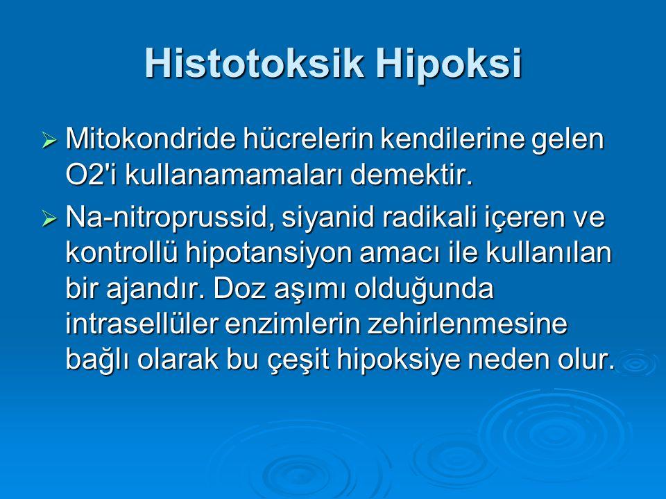 Histotoksik Hipoksi Mitokondride hücrelerin kendilerine gelen O2 i kullanamamaları demektir.