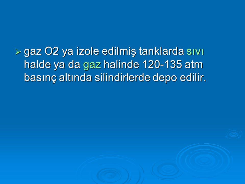 gaz O2 ya izole edilmiş tanklarda sıvı halde ya da gaz halinde 120-135 atm basınç altında silindirlerde depo edilir.