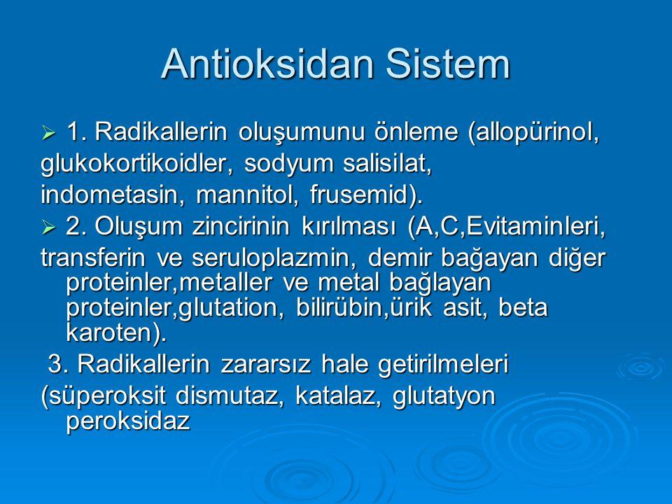 Antioksidan Sistem 1. Radikallerin oluşumunu önleme (allopürinol,