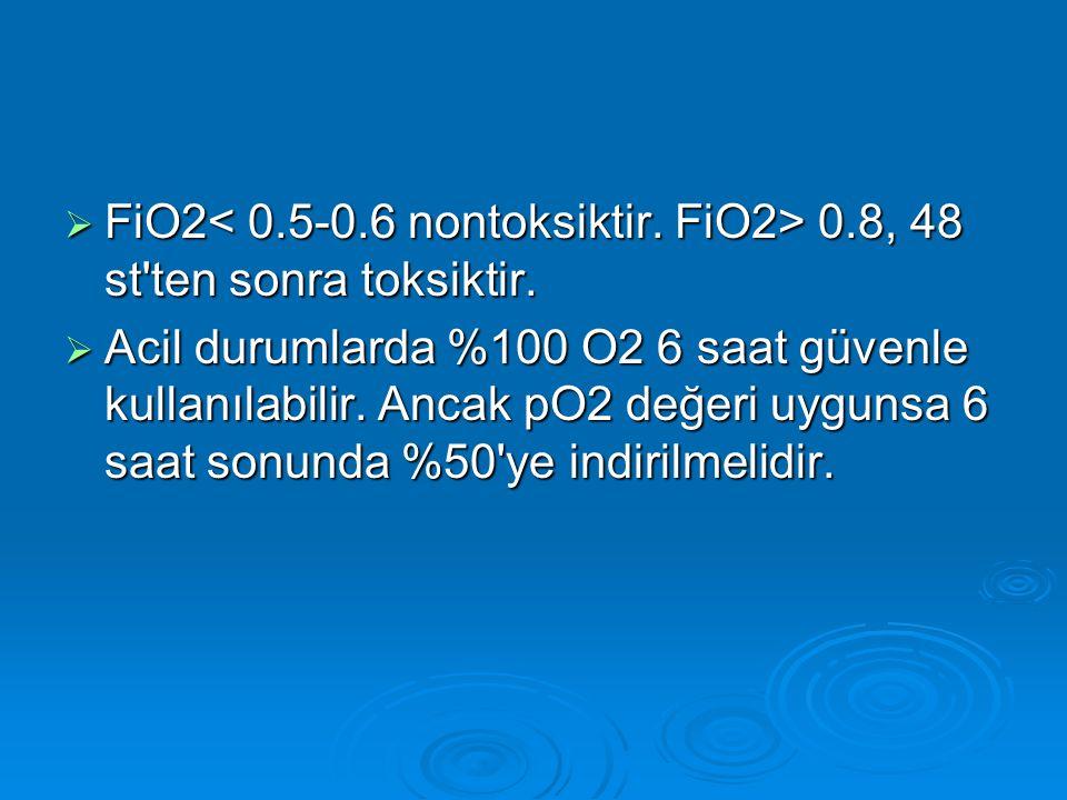 FiO2< 0. 5-0. 6 nontoksiktir. FiO2> 0