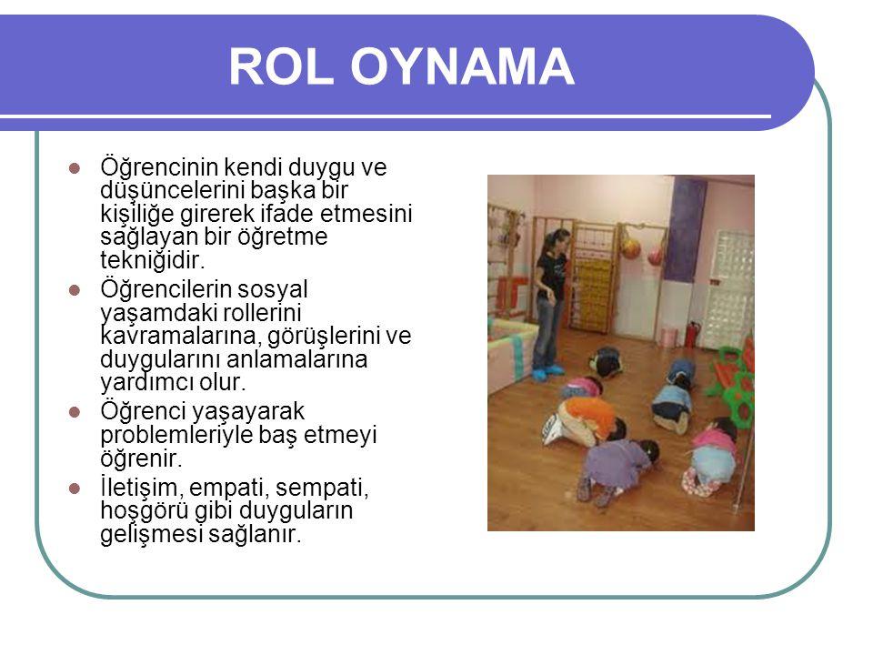 ROL OYNAMA Öğrencinin kendi duygu ve düşüncelerini başka bir kişiliğe girerek ifade etmesini sağlayan bir öğretme tekniğidir.