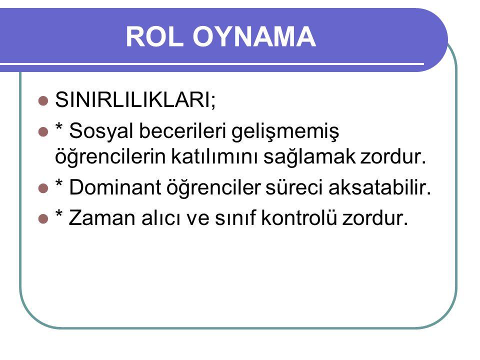 ROL OYNAMA SINIRLILIKLARI;