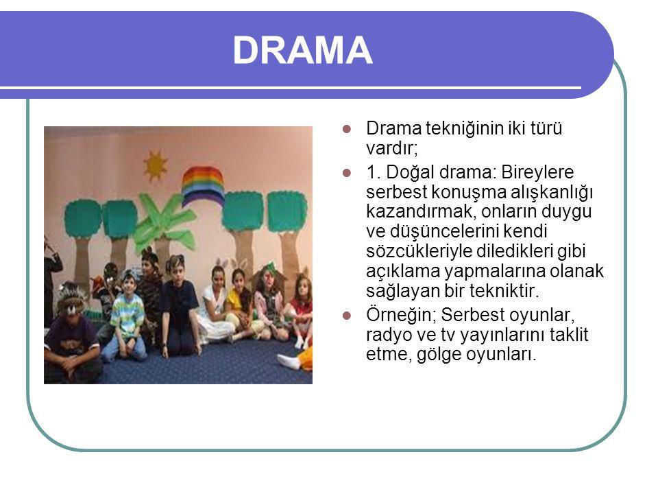 DRAMA Drama tekniğinin iki türü vardır;