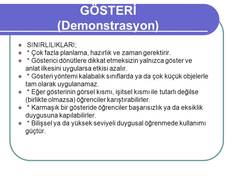 GÖSTERİ (Demonstrasyon)