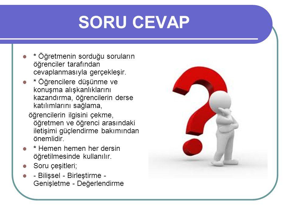 SORU CEVAP * Öğretmenin sorduğu soruların öğrenciler tarafından cevaplanmasıyla gerçekleşir.