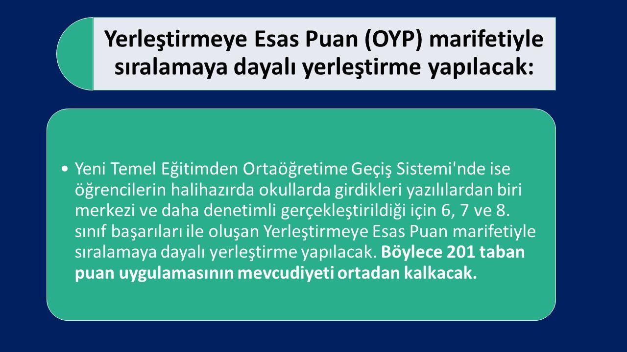 Yerleştirmeye Esas Puan (OYP) marifetiyle sıralamaya dayalı yerleştirme yapılacak: