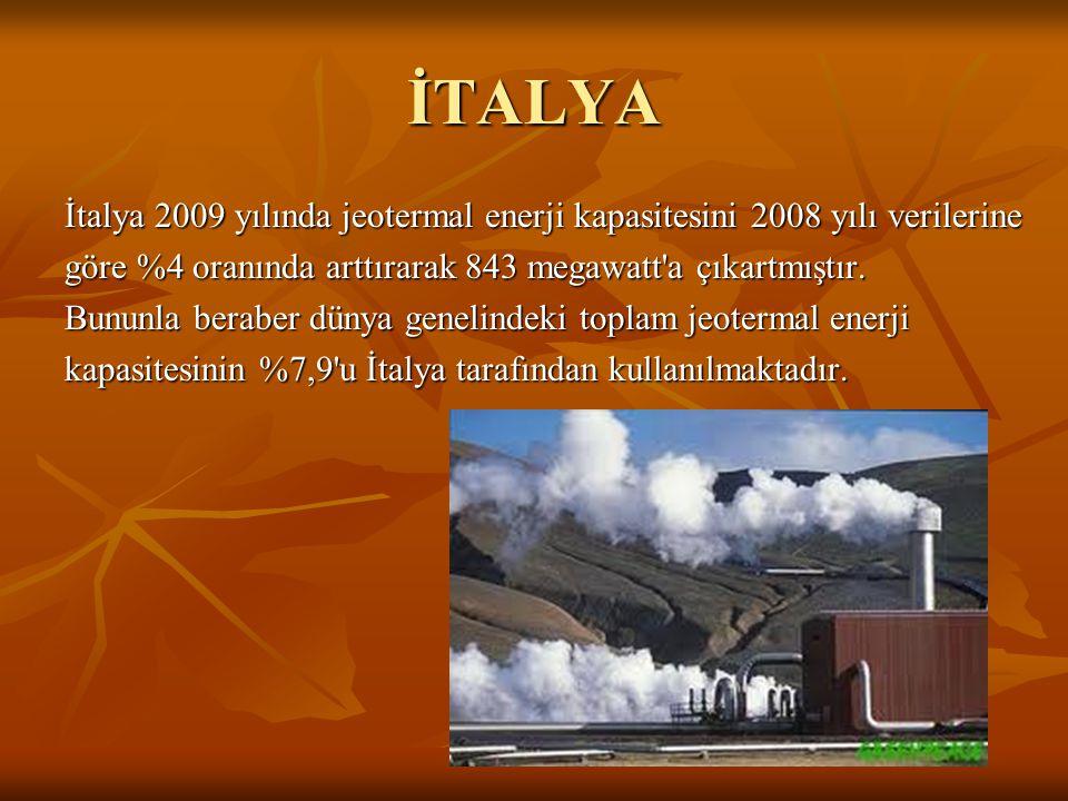 İTALYA İtalya 2009 yılında jeotermal enerji kapasitesini 2008 yılı verilerine. göre %4 oranında arttırarak 843 megawatt a çıkartmıştır.