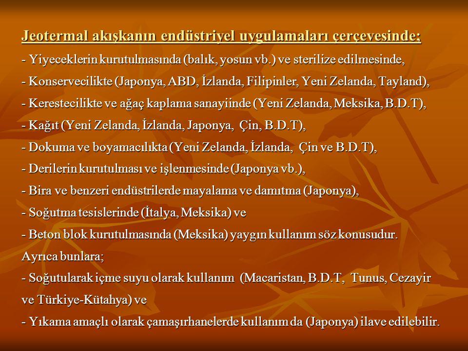 Jeotermal akışkanın endüstriyel uygulamaları çerçevesinde; - Yiyeceklerin kurutulmasında (balık, yosun vb.) ve sterilize edilmesinde, - Konservecilikte (Japonya, ABD, İzlanda, Filipinler, Yeni Zelanda, Tayland), - Kerestecilikte ve ağaç kaplama sanayiinde (Yeni Zelanda, Meksika, B.D.T), - Kağıt (Yeni Zelanda, İzlanda, Japonya, Çin, B.D.T), - Dokuma ve boyamacılıkta (Yeni Zelanda, İzlanda, Çin ve B.D.T), - Derilerin kurutulması ve işlenmesinde (Japonya vb.), - Bira ve benzeri endüstrilerde mayalama ve damıtma (Japonya), - Soğutma tesislerinde (İtalya, Meksika) ve - Beton blok kurutulmasında (Meksika) yaygın kullanım söz konusudur.