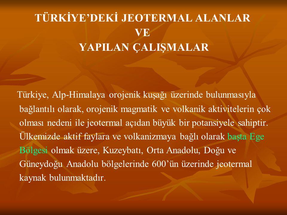 TÜRKİYE'DEKİ JEOTERMAL ALANLAR