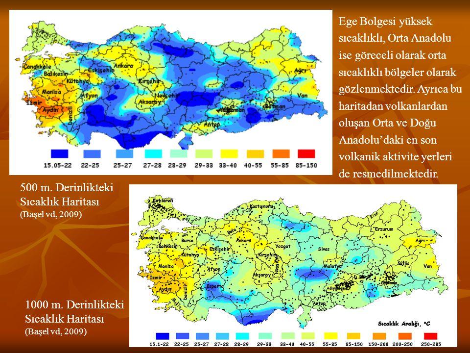 Ege Bolgesi yüksek sıcaklıklı, Orta Anadolu ise göreceli olarak orta sıcaklıklı bölgeler olarak gözlenmektedir. Ayrıca bu haritadan volkanlardan