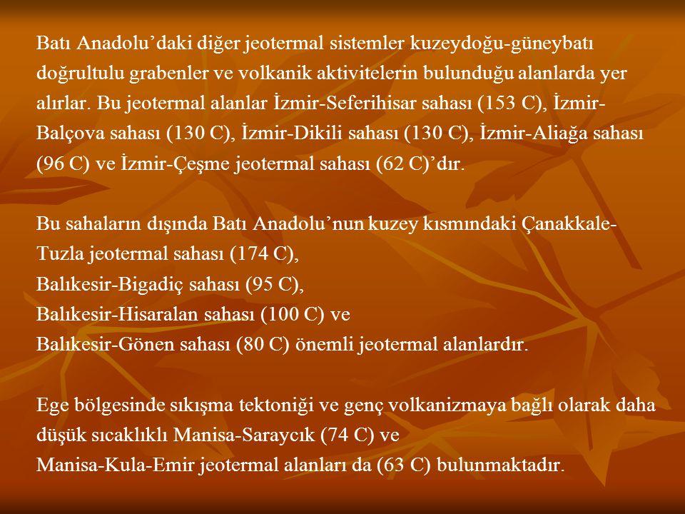 Batı Anadolu'daki diğer jeotermal sistemler kuzeydoğu-güneybatı doğrultulu grabenler ve volkanik aktivitelerin bulunduğu alanlarda yer alırlar.