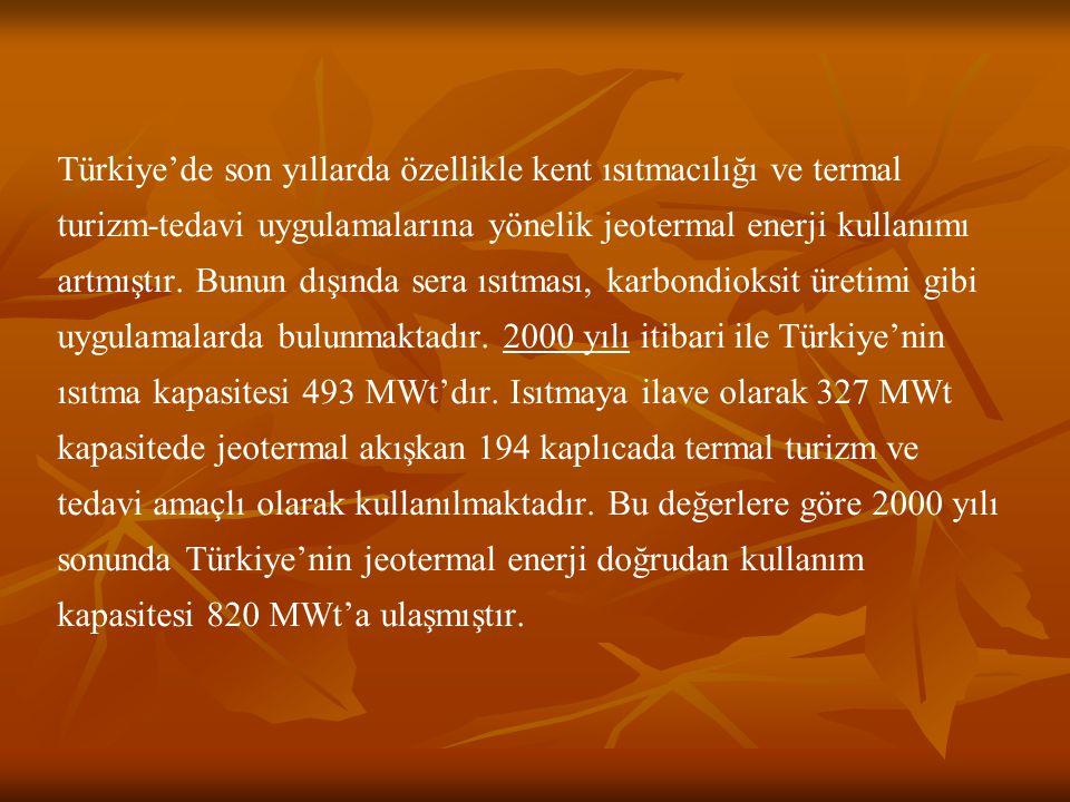 Türkiye'de son yıllarda özellikle kent ısıtmacılığı ve termal turizm-tedavi uygulamalarına yönelik jeotermal enerji kullanımı artmıştır.