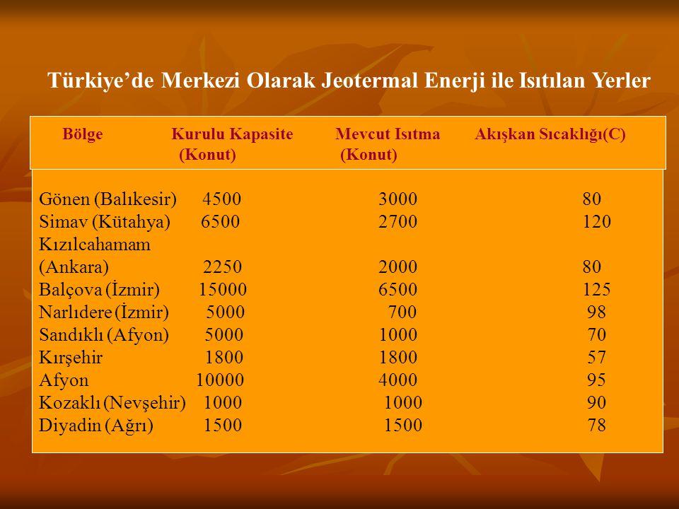 Türkiye'de Merkezi Olarak Jeotermal Enerji ile Isıtılan Yerler