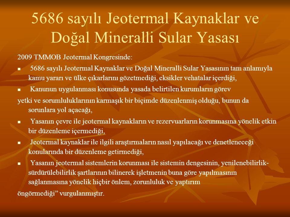 5686 sayılı Jeotermal Kaynaklar ve Doğal Mineralli Sular Yasası