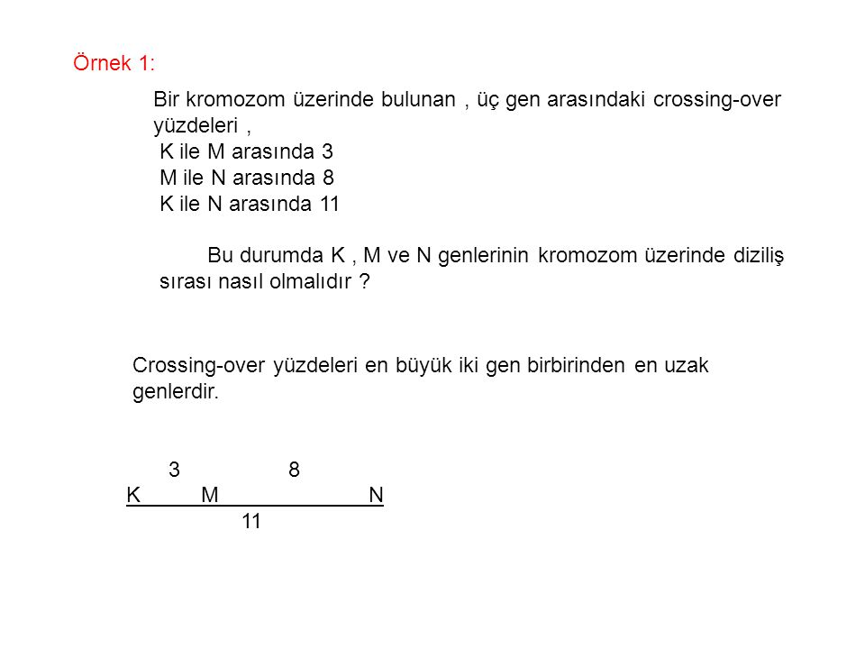 Örnek 1: Bir kromozom üzerinde bulunan , üç gen arasındaki crossing-over. yüzdeleri , K ile M arasında 3.