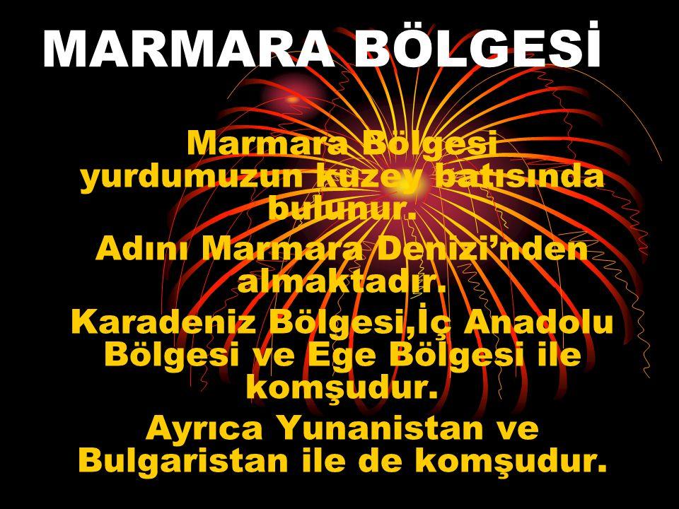 MARMARA BÖLGESİ Marmara Bölgesi yurdumuzun kuzey batısında bulunur.