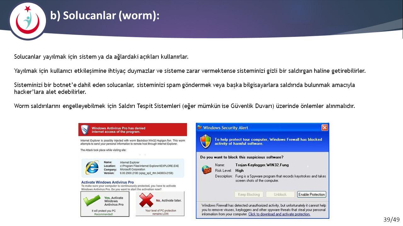 b) Solucanlar (worm): Solucanlar yayılmak için sistem ya da ağlardaki açıkları kullanırlar.