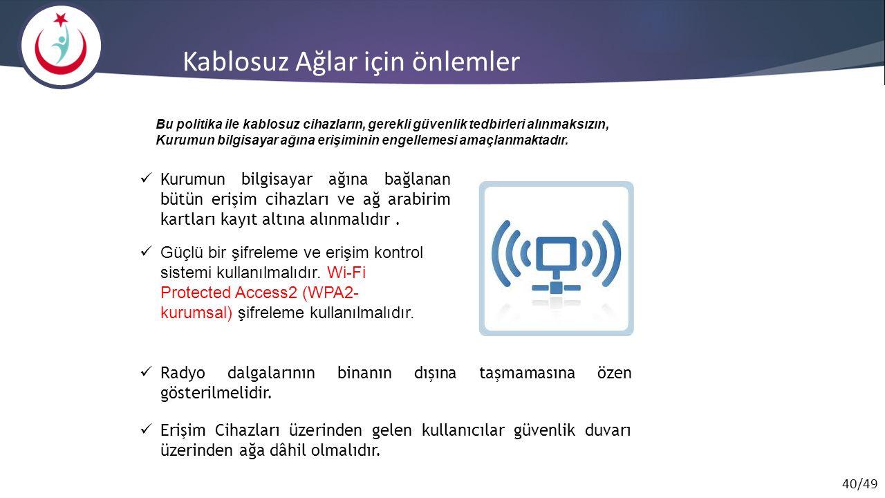 Kablosuz Ağlar için önlemler
