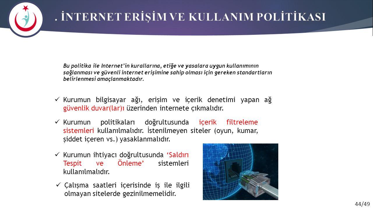 . İNTERNET ERİŞİM VE KULLANIM POLİTİKASI