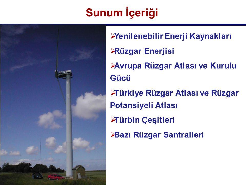 Sunum İçeriği Yenilenebilir Enerji Kaynakları Rüzgar Enerjisi